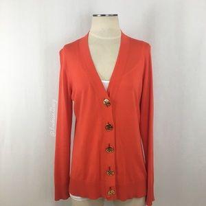 Tory Burch- Orange V-Neck Cardigan Size Large